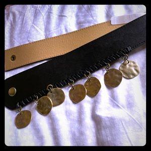 BCBG Belt Black Gold Stretch Elastic